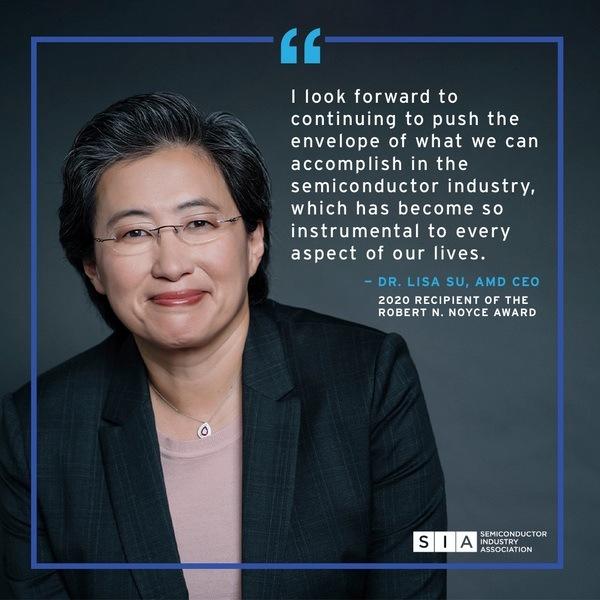 AMD首席执行官苏丽莎博士获得半导体行业的最高荣誉